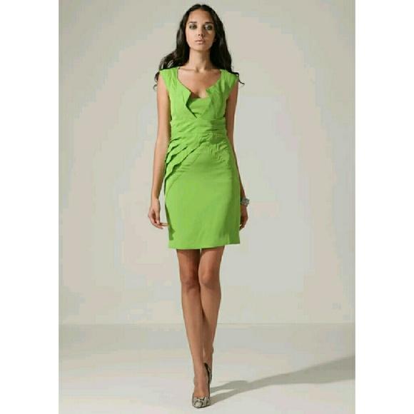 eb5126301ad Zac Posen Green Silk Darted Cocktail Dress 12 10 8